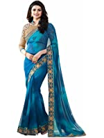Tagline Women's Clothing Saree Collection in Multi-Coloured Georgette Material For Women Party Wear,Wedding,Casual sarees Offer With Blouse Piece