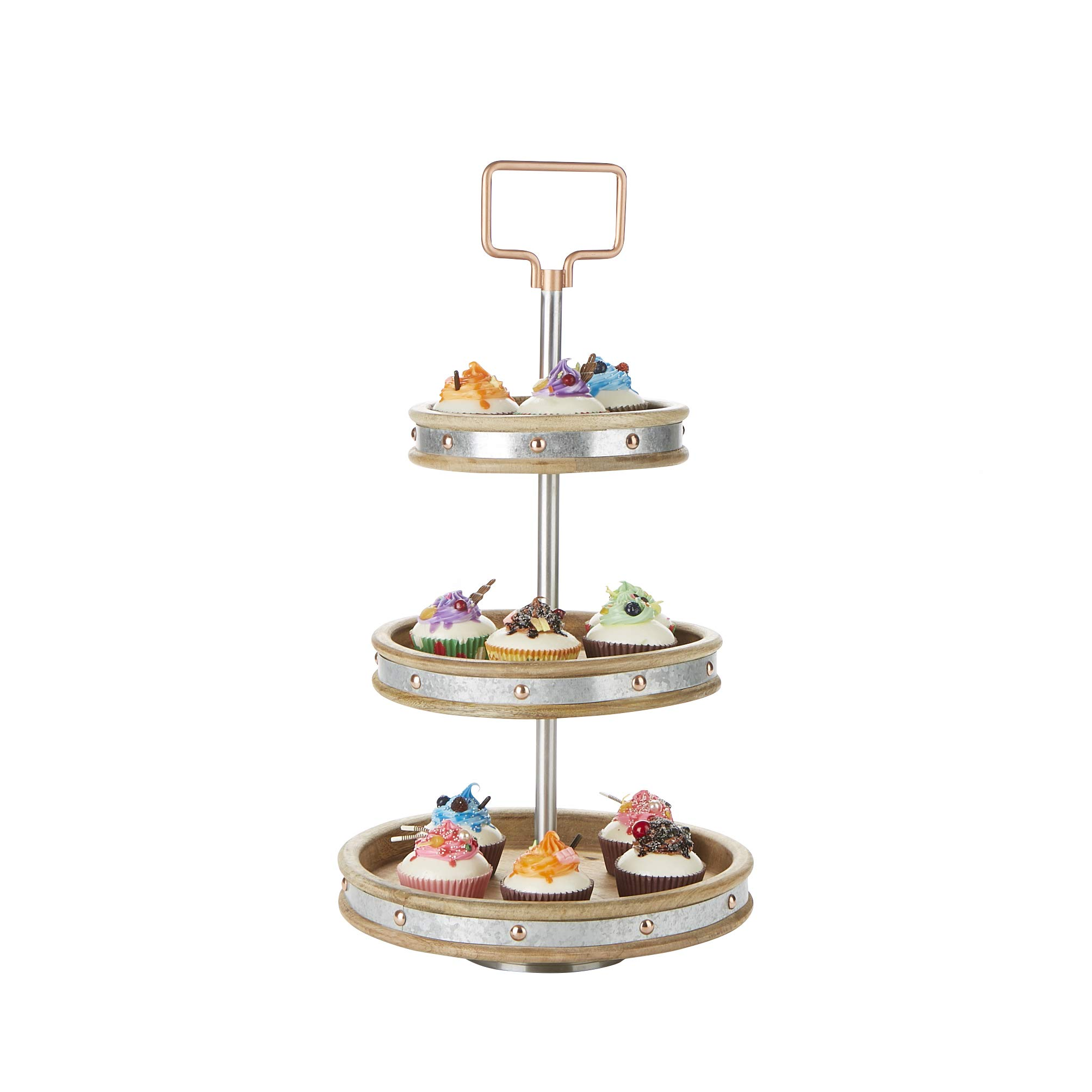 Mind Reader 3TCIRCALU-SIL 3, Party Pastry, Cupcake Holder, Tree Tower Stand, Tiered Serving Dessert Display Tray, Silver, One Size