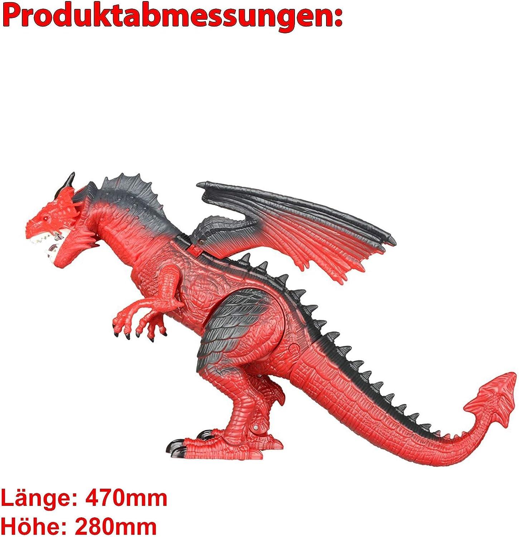 HSP Himoto Riesengroßer RC Ferngesteuerter Drache, Dinosaurier Tyrannosaurus mit Wasserspritzfunktion, ca. 50cm groß, Gehfunktion, Kopf schütteln,