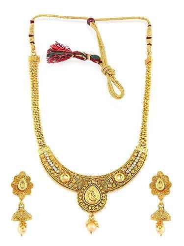 Engagement & Wedding Ethnic Indian Traditional Gold Tone Kundan Pendent Necklace Set Women Jewellery Reasonable Price