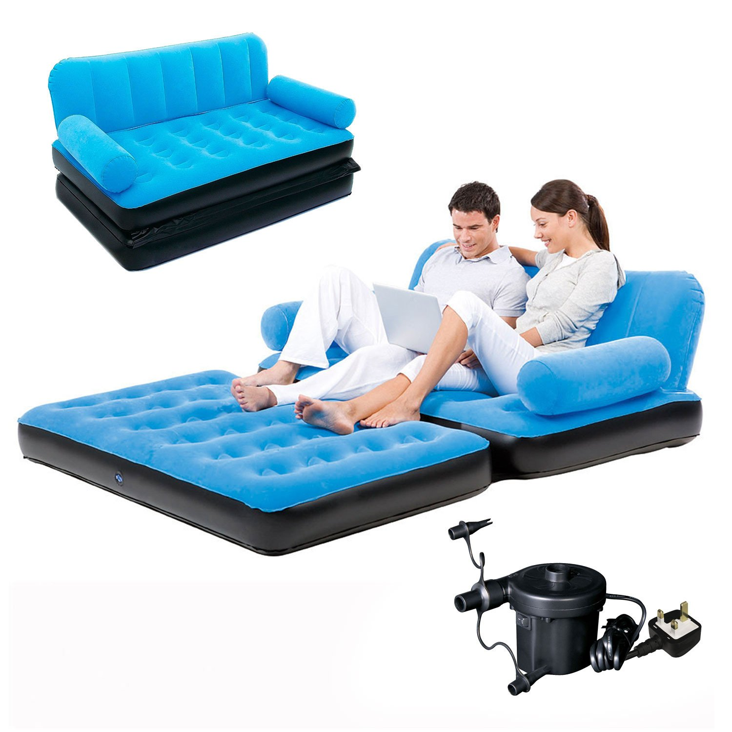Bestway Flocked Double Inflatable Air Bed Couch Sofa 1 88 x 1 52
