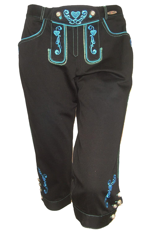 Damen Kniebundhose in Lederhosenoptik schwarz mit türkiser Stickerei Caprihose
