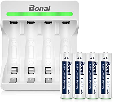Amazon Com Rechargeable Lithium Aa Batteries Bonai Rechargeable Li Ion Aa Batteries With 4 Bay Micro Usb Charger 3300mwh 1500 Cycles 1 5v Constant Output 2hours Quick Charge Auto Safety Feature 4 Packs Electronics