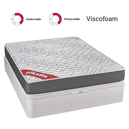 PIKOLIN Colchón viscoelástico Espuma HR 150x190 firmeza Media, Reversible, Alto 22cm - Colchones Sigeo