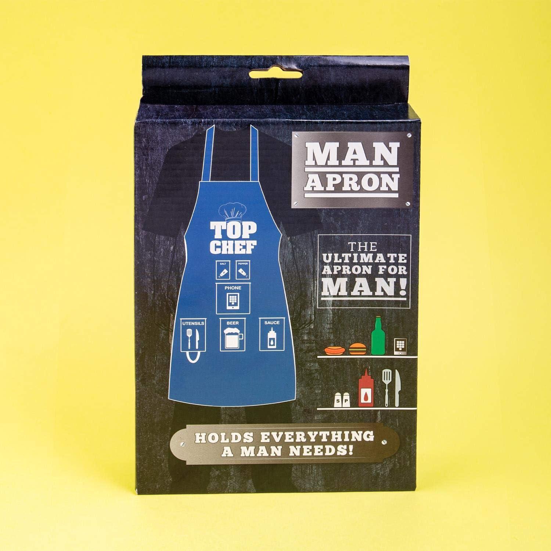 Fizz Creations 9058, Delantal para Hombre, Color Azul y Blanco
