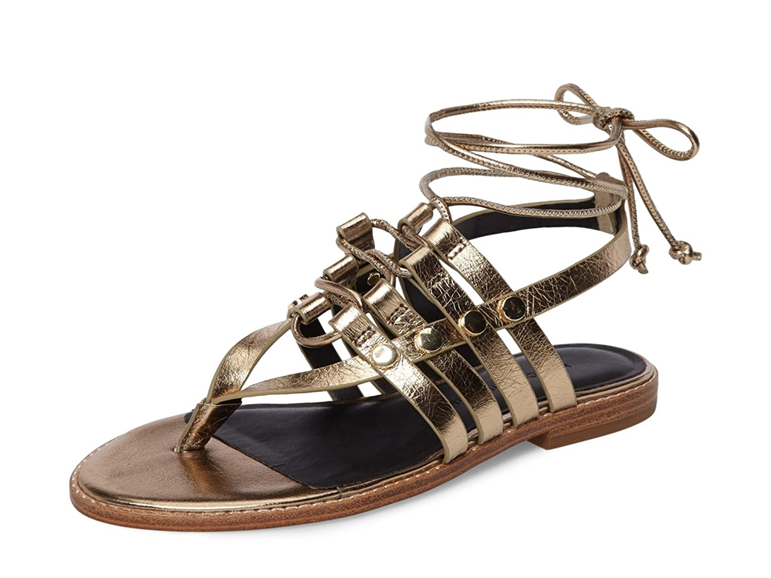 Women's Evonne Gold Lace-Up Sandals by Rebecca Minkoff - DeluxeAdultCostumes.com