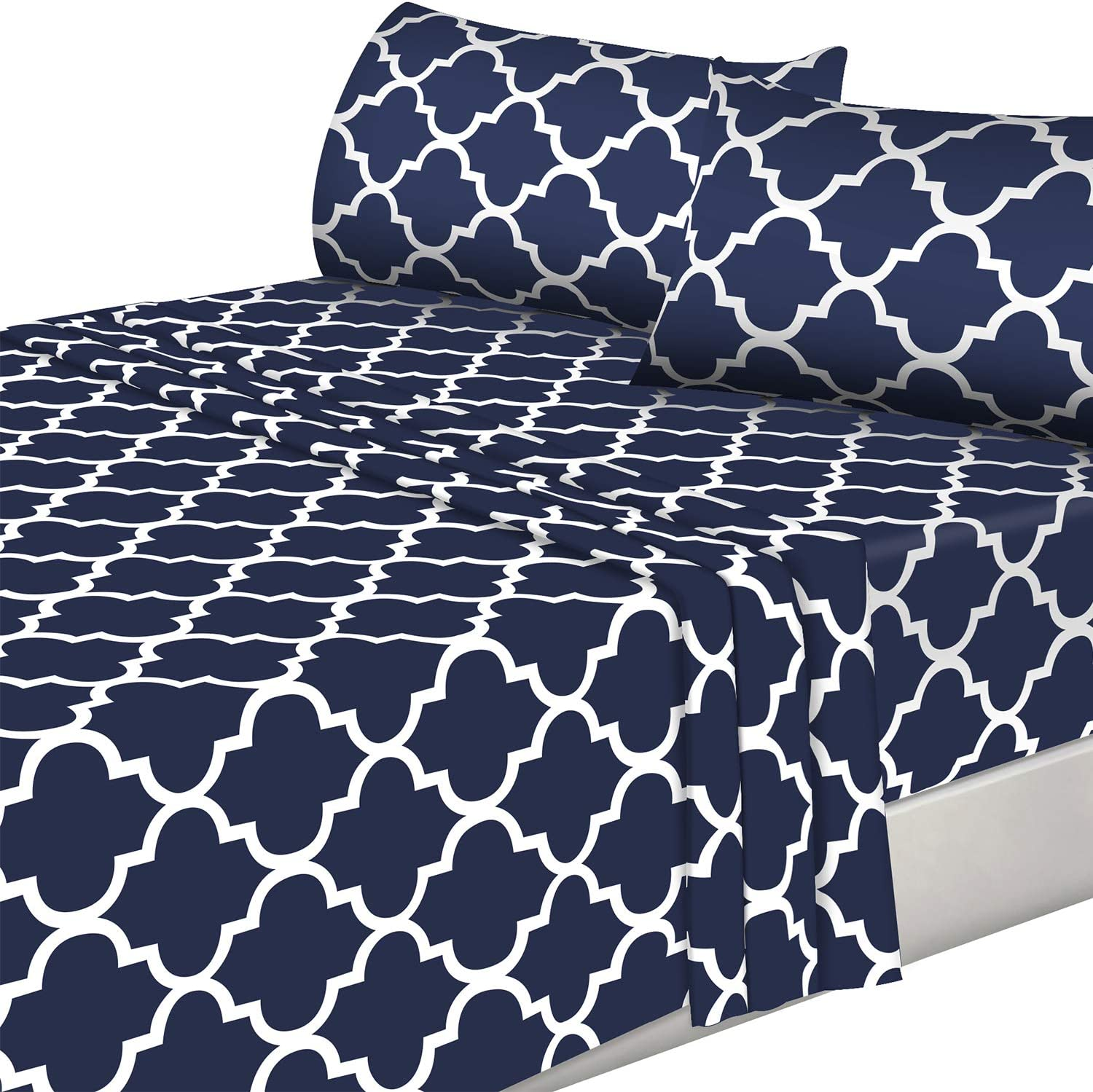 Utopia Bedding 4PC Bed Sheet Set 1 Flat Sheet, 1 Fitted Sheet, and 2 Pillowcases (Full, Navy)