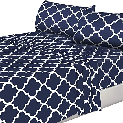 df197e8ff4 Amazon.com: Utopia Bedding 4PC Bed Sheet Set 1 Flat Sheet, 1 Fitted Sheet,  and 2 Pillowcases (Queen, Navy): Home & Kitchen