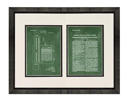 Amazon com: Calculating Machine Calculator Patent Art Green