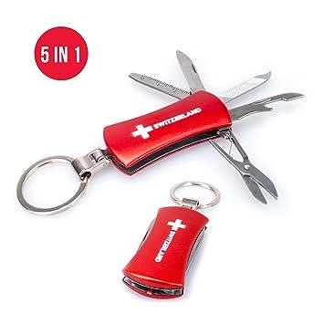TopSpirit Llavero Multi Tool 5 en 1 Switzerland – Multi Herramienta con Cuchillo, abrebotellas, Lima de Uñas, Regla y Tijeras – 5.5 cm