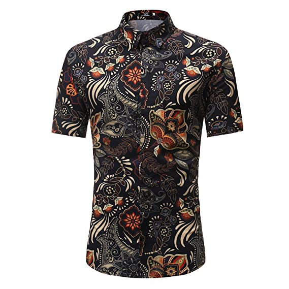 dfc1f82e2 EDTara Men Summer Casual Retro Floral Printing Short Sleeve Shirt Leisure  Slim Fit T-Shirt  Amazon.in  Clothing   Accessories