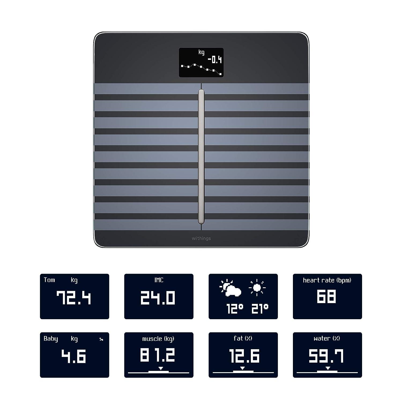 Nokia Body Cardio - Báscula Wi-Fi con composición corporal y frecuencia cardiaca, color negro: Amazon.es: Salud y cuidado personal