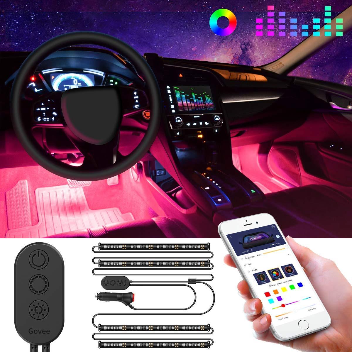 Car Interior Lights Govee Car LED Strip Light Upgraded Two-Line Design Waterproof 4pcs 48 LED APP Controlled Lighting Kits Multi DIY Colour Music Under Dash Car Lighting with Car Charger DC 12V