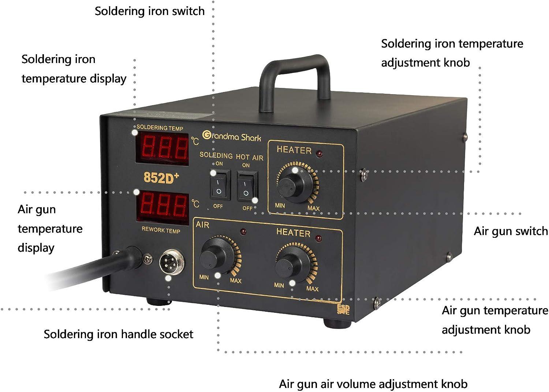 avec affichage pr/écis de la temp/érature /à LED type Type de pompe /à air) Grandma Shark Station de fer /à souder 2 en 1 kit de soudage de station de dessoudage 852D