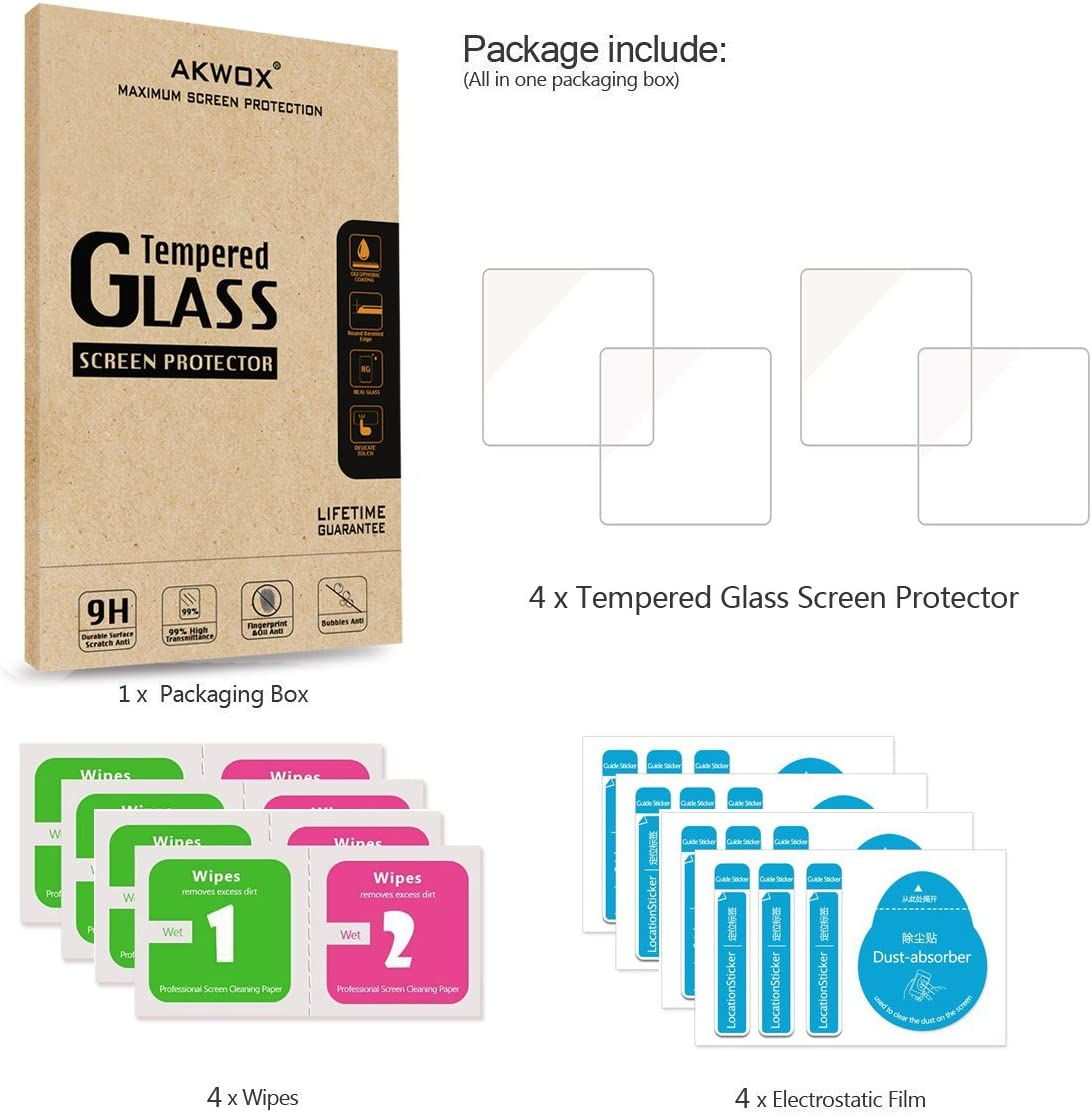 0.3mm 2.5D High Definition 9H Pack of 4 Akwox Premium Clear Screen Protector for Garmin Vivosport Tempered Glass Screen Protector for Garmin Vivosport