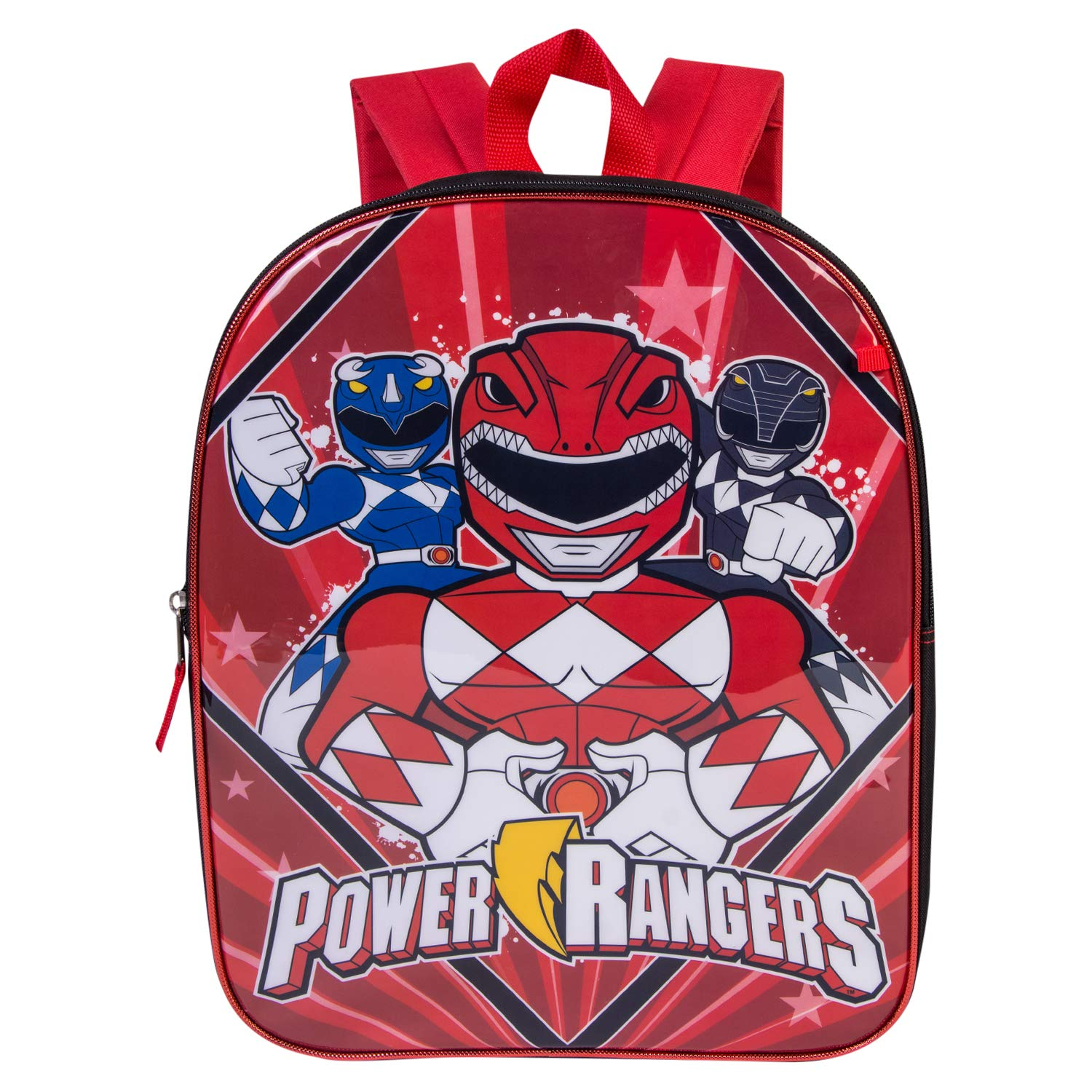 Power Rangers Backpack Combo Set - Power Rangers Boys 3 Piece Backpack Set - Backpack, Waterbottle and Carabina (Black/Red)