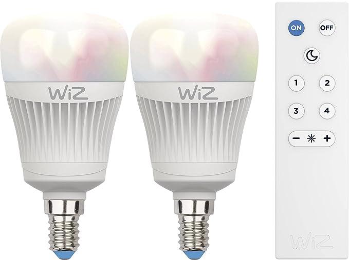 2-Pack bombillas LED WiZ inteligente con conexión WiFi , luz blanca y de colores + WiZmote ...