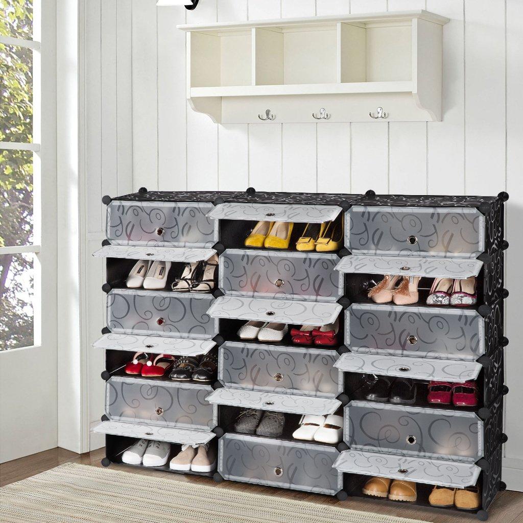 LANGRIA 18-Cube DIY Shoe Rack Storage Drawer Unit Multi Use Modular Organizer Plastic Cabinet with Doors Black and White Curly Pattern & LANGRIA 18-Cube DIY Shoe Rack Storage Drawer Unit Multi Use Modular ...