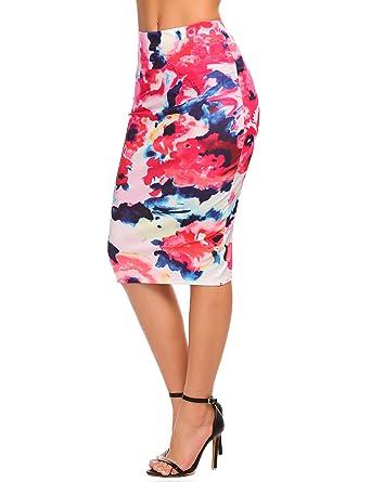 77b96e6a0 Chigant Women's High Waist Floral Print Office Midi Pencil Skirt at ...
