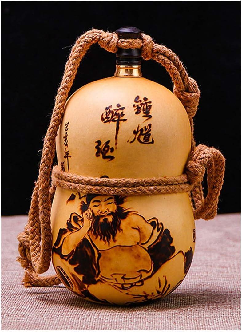 JRPBH ワインひょうたん水ボトルワインひょうたんジャグポータブルポータブル小さな飾りのリビングルームラッキーホイスト (Color : Brown)