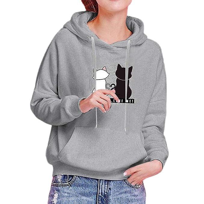 d455541afea840 GreatestPAK Damen Mode Katze Bedruckt Langarm Kapuzenpullover Hoodie  Sweatshirt Lässig Winter Herbst Oberteile: Amazon.de: Bekleidung