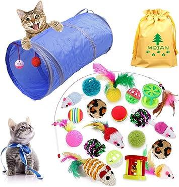 MQIAN 21PCS Juguetes para Paquete de Variedad para Gatitos, Set di Juguetes para Gatos Interactivo Ratón,Juguetes para Gatos con Plumas túnel: Amazon.es: Productos para mascotas
