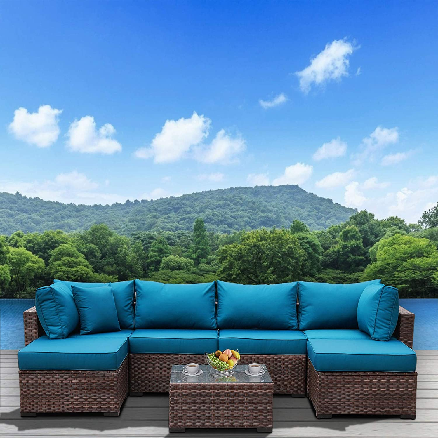 Outdoor Patio Brown Rattan 7 Piece Sectional Furniture Set PE Wicker Conversation Sofa with Peacock Blue Cushion