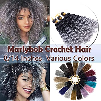 Amazon Com Marlybob Crochet Braids Hair Extensions Synthetic Deep Water Wave Marlibob Hairpiece Afro Jerry Curl Kinky Curly Twist Braiding Weave Hair For Black Women 8 Black To Silvery Grey Beauty