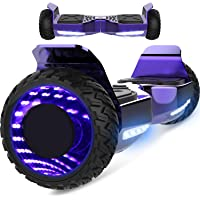 Markboard Gyropode Bluetooth 6.5 Pouces, Balance Board Scooter SUV Tout-Terrain, avec LED, Smart Scooter Overboard, EL-ES06
