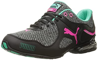 Womens Shoes PUMA Cell Riaze Knit Mesh Black/Pink Glo/Mint Leaf