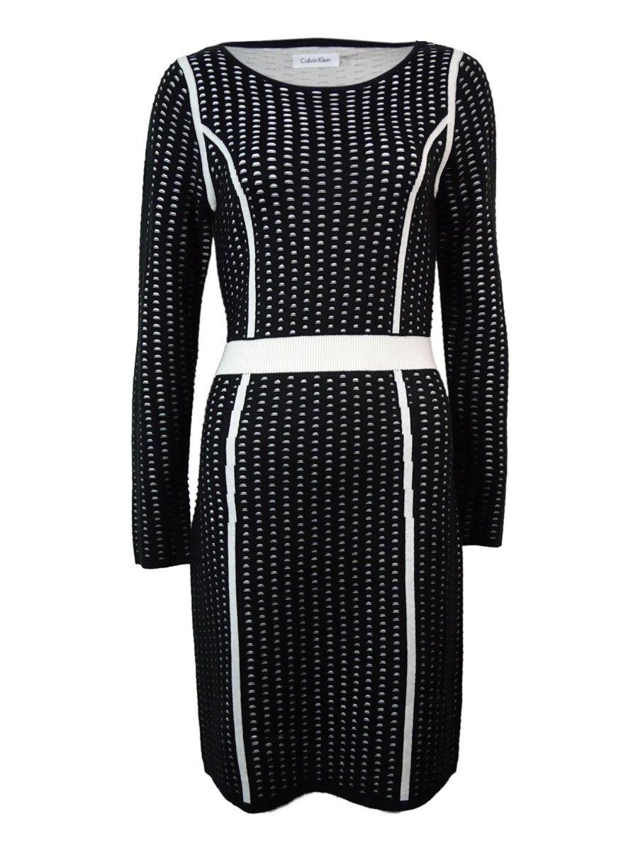 Calvin Klein Women's Long Sleeve Framed Sweater Dress Black/Eggshell Dress LG (US 12)