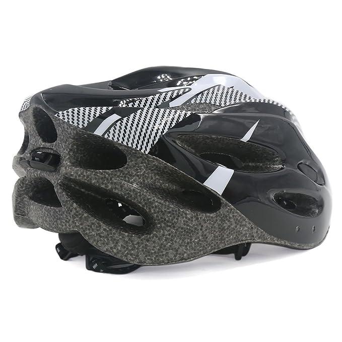 Amazon.com : eDealMax hueco hacia fuera diseña Para Bicicleta Casco de 56cm-63cm Negro Blanco : Sports & Outdoors