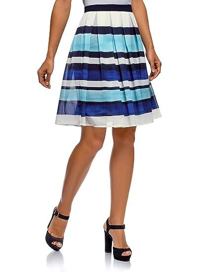 oodji Collection Mujer Falda con Pliegues de Tejido Fluido, Azul ...