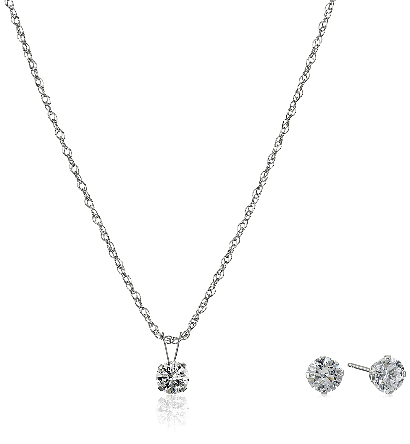 in two diamond necklace tw stone white gold