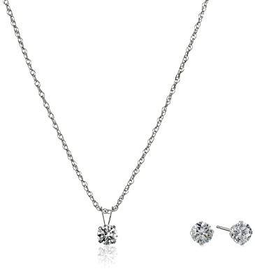 Amazoncom 10K White Gold Pendant Necklace and Earrings set with