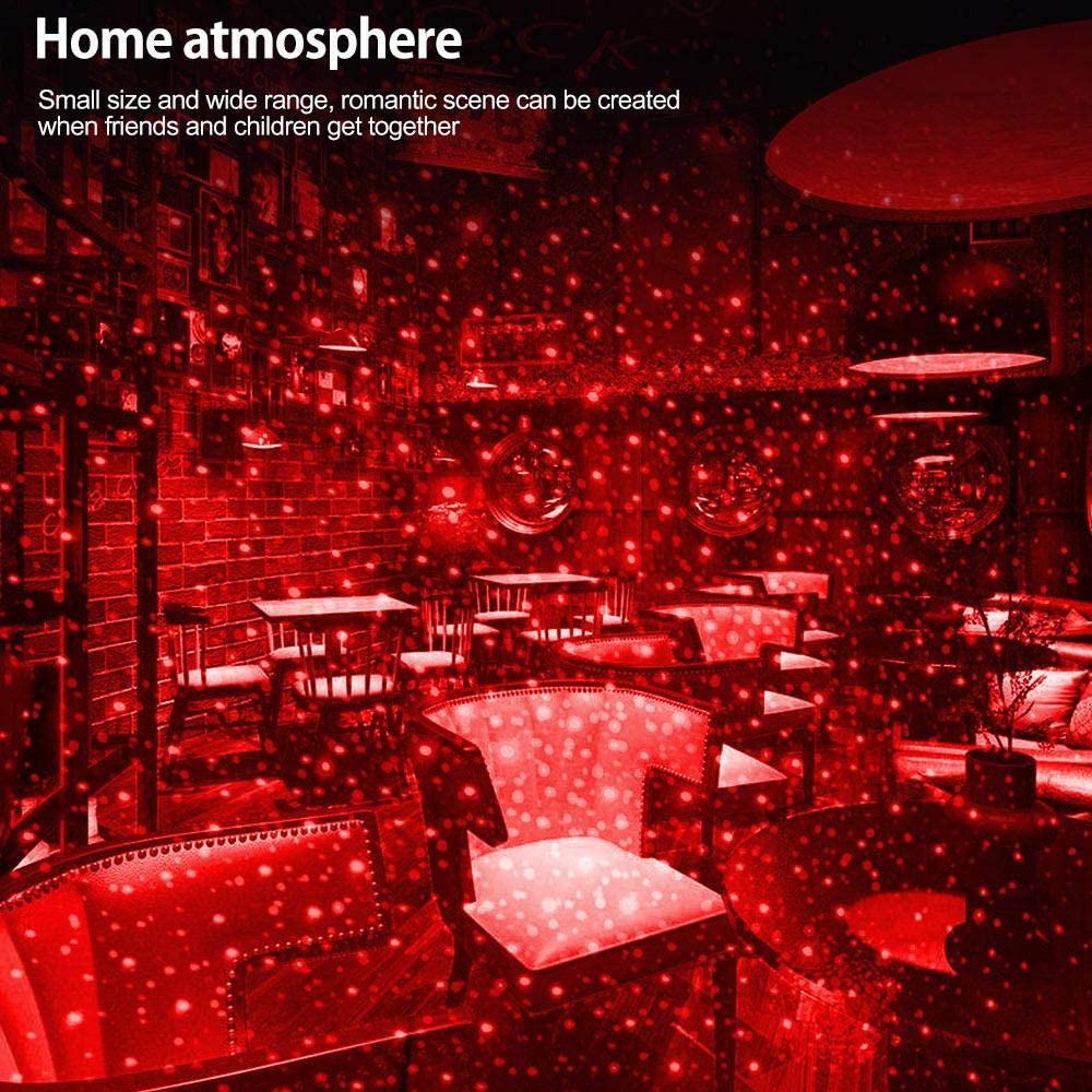 Lesgos Plug-and-Play-Decke Romantic Night USB Light red Universal-USB-Mini-Decken-Starlight-Projektion f/ür Auto//Home//Party Romantic Auto Roof Stars