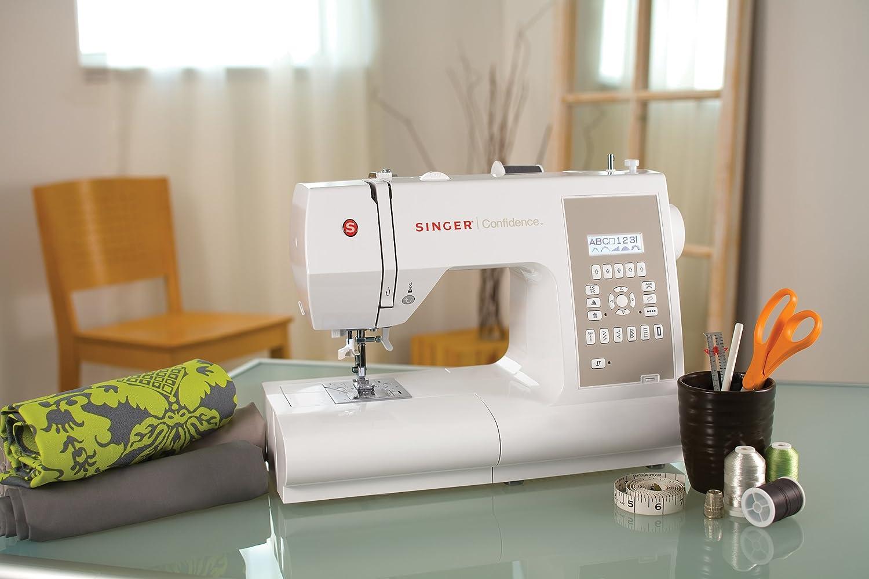 SINGER Confidence - Máquina de coser (LCD, Eléctrico, Gris, Color blanco, El pie para ojales, Cubrir): Amazon.es: Hogar