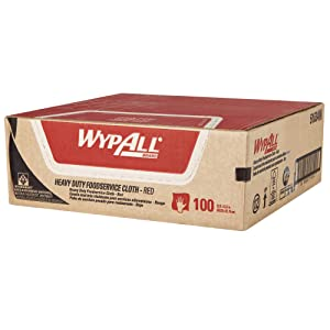 WypAll Heavy Duty Foodservice Extended Use Reusable Cloths (51634), Quarterfold, Red Cloths, 1 Box, 100 Sheets