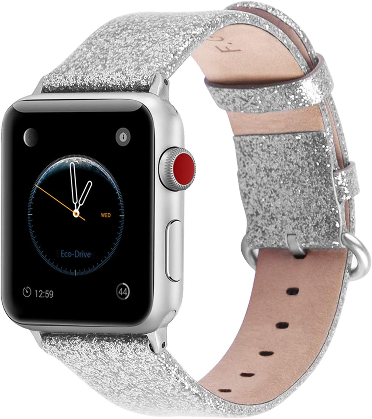 Patent Leather Apple Watch Band 42mm 44mm 40mm 38mm, Fullmosa Stella Women Fashion Bling Apple Watch Band Compatible for Apple Watch SE Series 6/5/4/3/2/1, Silver + Silver Hardware 42mm 44mm