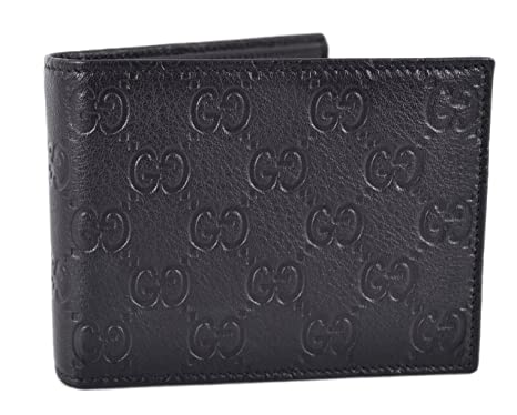 52a9531b2511 Image Unavailable. Image not available for. Color: Gucci 278596 Men's Black Leather  GG Guccissima Monogram Bifold Wallet