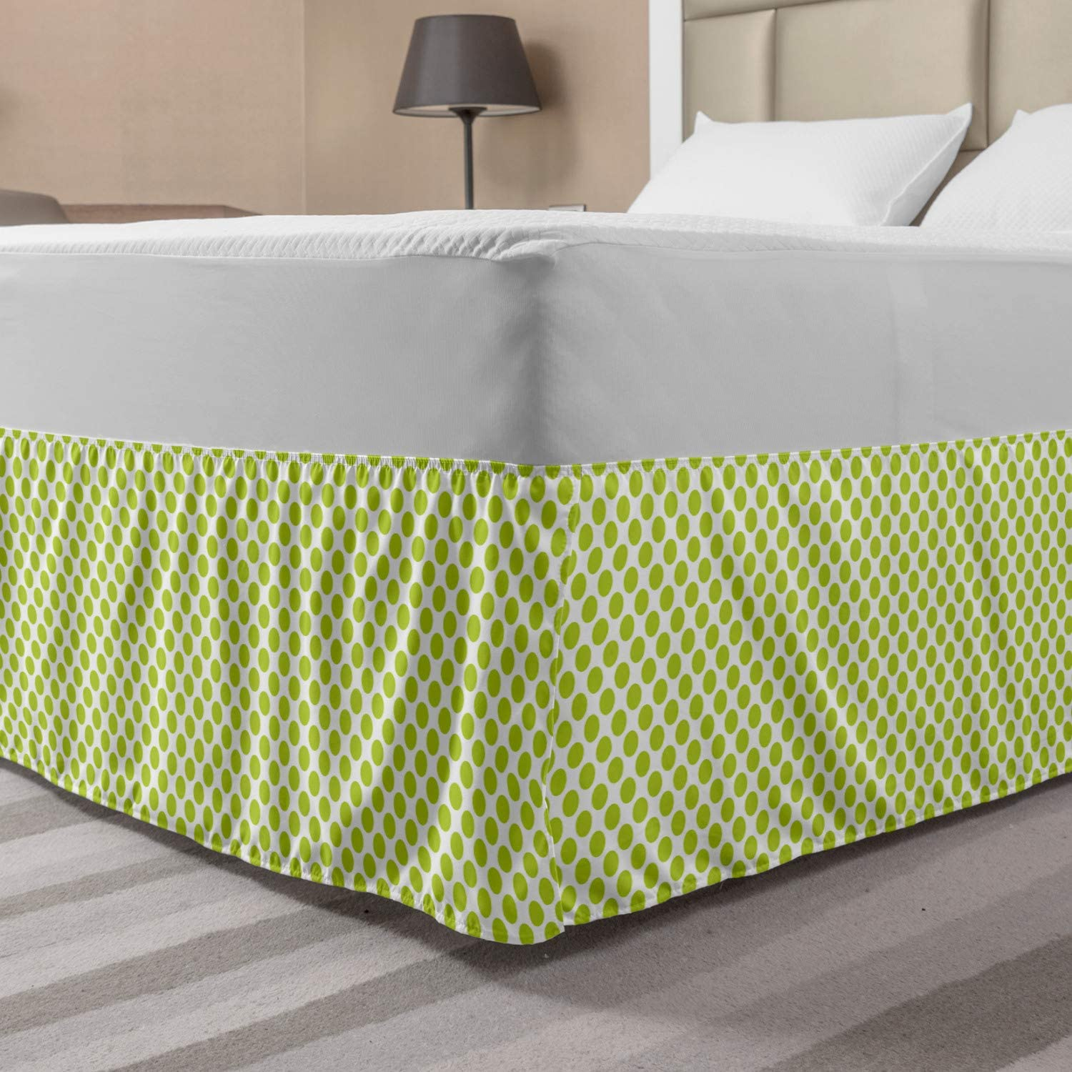 Ambesonne Lime Green Bedskirt, Nostalgic Polka Dots Style Large Circles Girlish Vintage Rounds Pattern, Bedroom Decor Wrap Around Elastic Bed Skirt Gathered Design, Queen, Apple Green