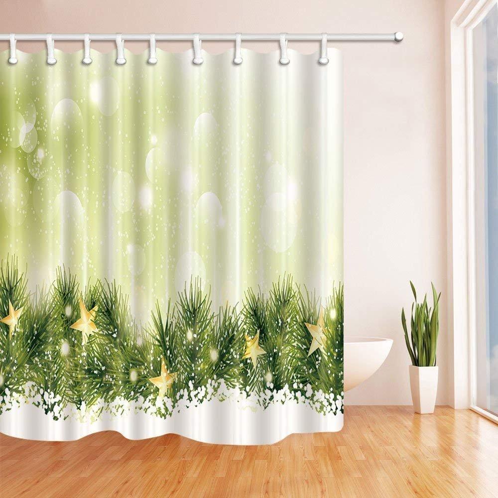 GzHQ Weihnachts-Duschvorhänge für Badezimmer, grünes Kiefernnadel ...
