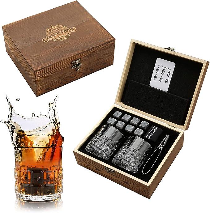 Juego de vasos de whisky Stones para regalo, 8 piedras de granito de whisky, 2 vasos de diamante beber whisky escocés o ginebra, caja de madera regalo ...