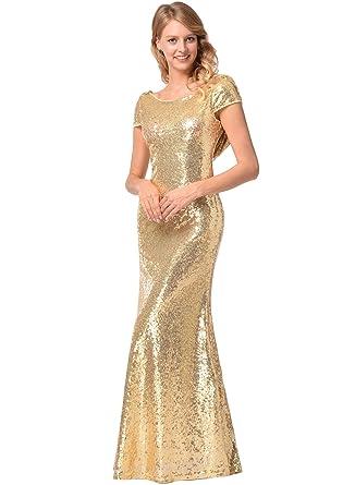 Ruiyige Damen Kurzarm O-Ausschnitt Fishtail Bright Abend Prom ...
