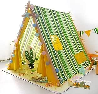 Kibten Dibujos animados Franja verde Portátil Indio Wigwam Teepee Kids Tienda de campaña Paly Lona grande de algodón Niño de madera Casa de juegos for niñas Sala de la princesa Casa de