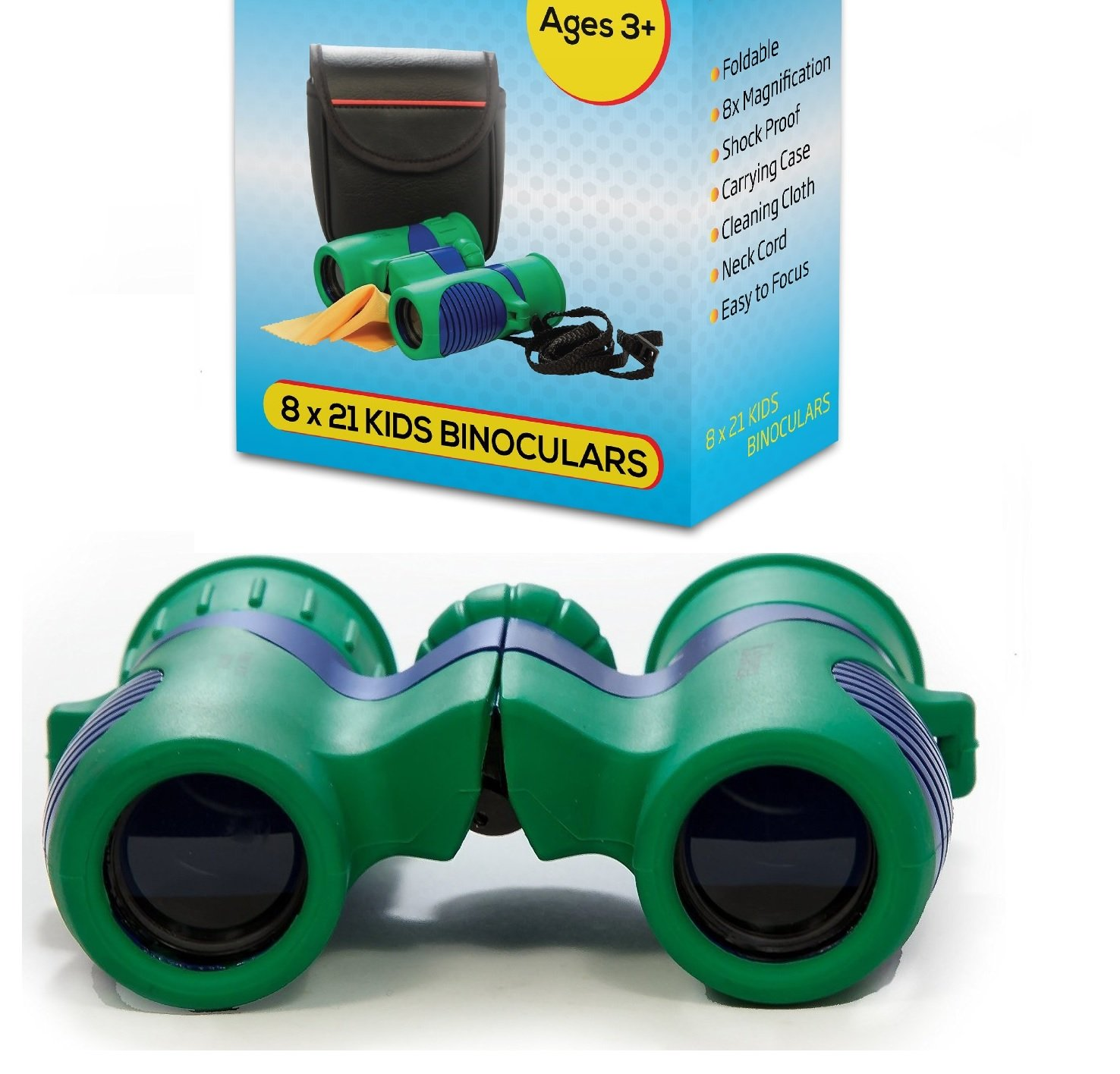 Kidwinz Shock Proof 8x21 Kids Binoculars Set High Resolution Real Optics