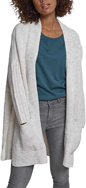 Urban Classics Ladies Oversized Cardigan, Chaqueta Punto para Mujer, Mehrfarbig (Wht/Gry