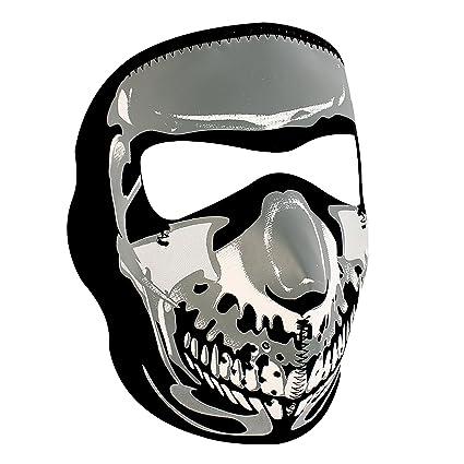 e429adfc688 Amazon.com  Zanheadgear WNFM023 Chrome Black Neoprene Skull Face Mask   Automotive