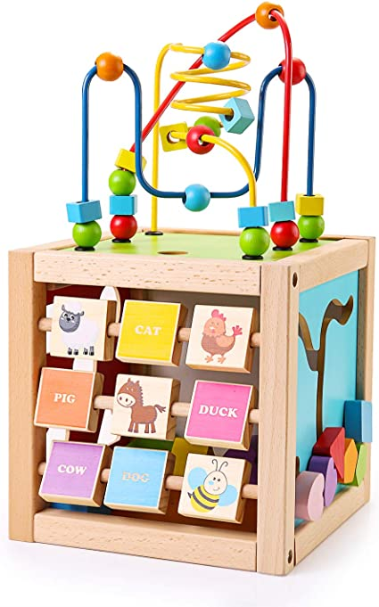 Wooden Activity Cube Shape Shorter Bead Maze Toy Educational Baby for One Year