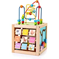 SainSmart Jr. Kids Wooden Activity Cube with Bead Maze 5-in-1 Shape Sorter and Discover Baby Play Center Educational…
